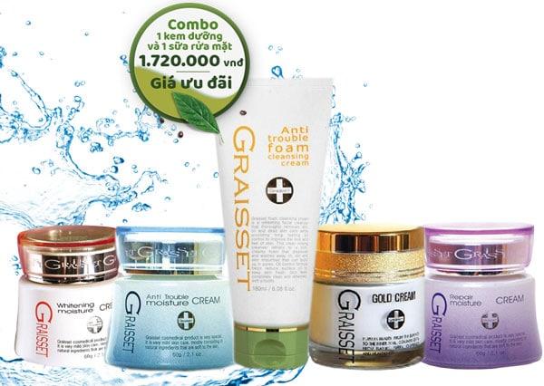 Bộ sản phẩm sữa rửa mặt anti graisset và kem dưỡng chăm sóc da